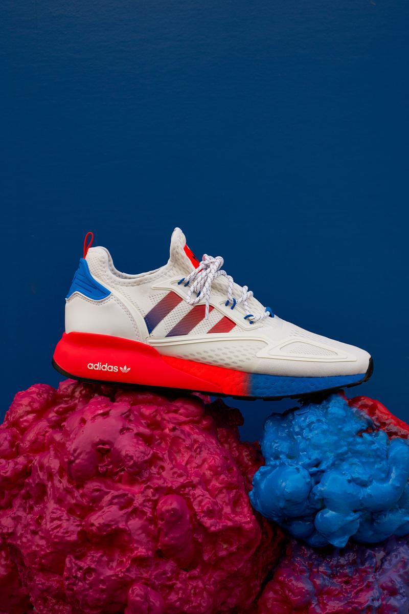 Oddly satisfying design and technology Zxience Network Ninja flexibility Sean Wotherspoon color gradients Mette Towley comfort actor Ranveer Singh squishiness Stream of ConZXiousness Adiprene X outsole solar red shock pink Stark Blue gradient sole white mesh upper black striples blue accents BOOST technology ombre colour palette toe to heel