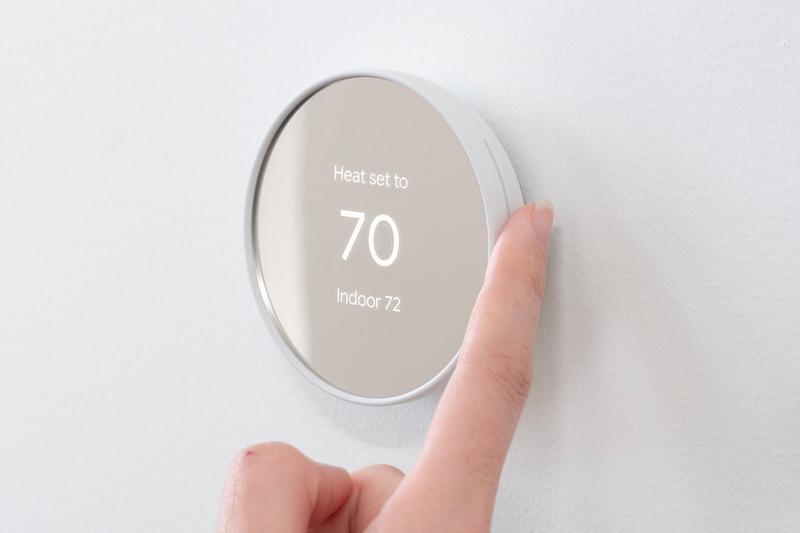 Google Nest Minimal Redesign Smart Thermostat temperature google smart home app eco mode schedule device technology