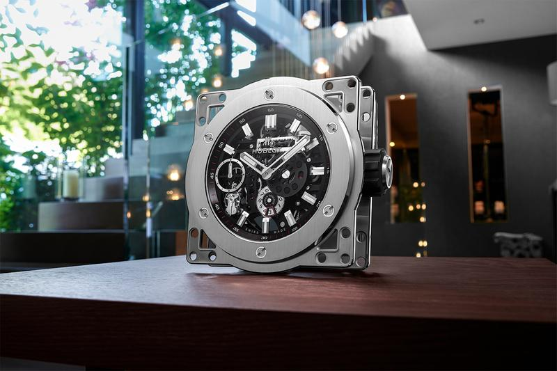 hublot meca 10 manual winding movement mechanical skeletonized table clock oversized lepee manufacture