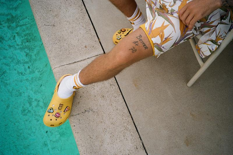 justin bieber crocs yellow classic clog charms release information drew house buy cop purchase