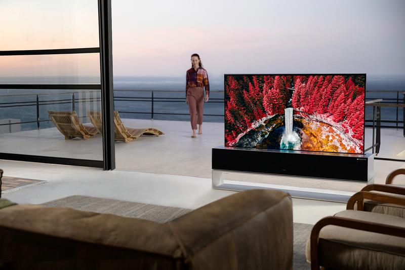 LG Rollable OLED TV 4K 65-Inch Made to Order Custom Built Television Disappearing Kvadrat Speaker Cover $87000 USD Expensive Tech Technology Ground Breaking Korean Brand