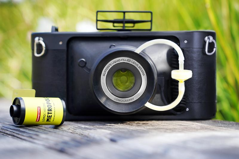 Lomography HydroChrome Suttons Panoramic Belair Camera technology liquid filled lens lza sproket holes
