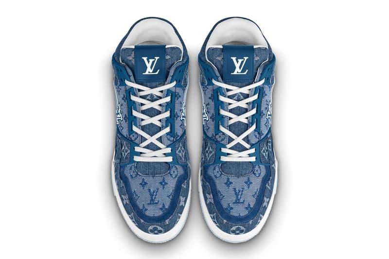 louis vuitton lv 408 trainer low monogram denim blue virgil abloh pre order official release date info photos price store list buying guide
