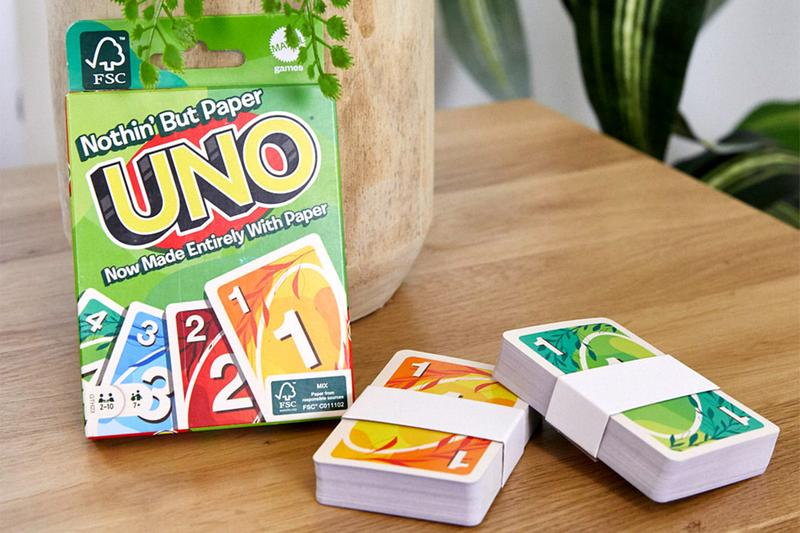 mattel sustainability climate change cellophane recycling nothin but paper packaging design environmental uno card game
