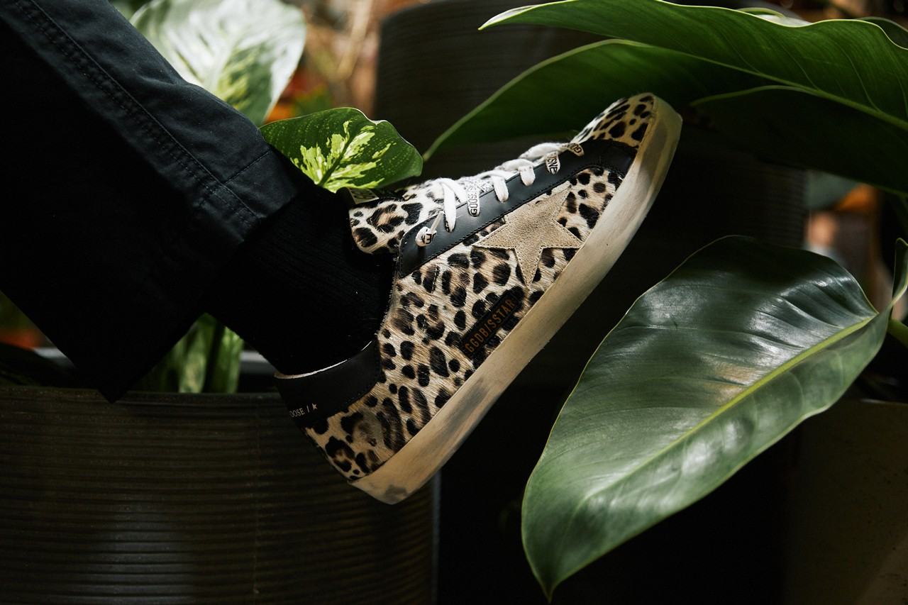 bloomingdales soft leopard-print calf hair signature Superstar distressed appliqué in black leather an off-white suede toe animal print monogram leather upper and lining Italian craftsmanship made in italy true to size graphic low-top sneaker women's unisex