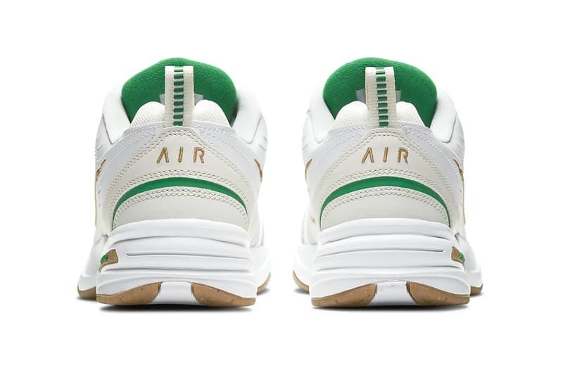 Nike Air Monarch IV Phantom Gray lucky green metallic gold Colorway menswear streetwear fall winter 2020 collection fw20 shoes footwear kicks trainers runners 415445 103