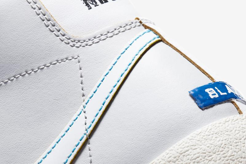 Nike Blazer Mid '77 DC5203-100 White / Varsity Royal / Neutral Gray / Fear Purple Release Information Sneaker Drop Date Closer Look Label Maker Rub-Away Swoosh Logo Footwear OG Classic Basketball
