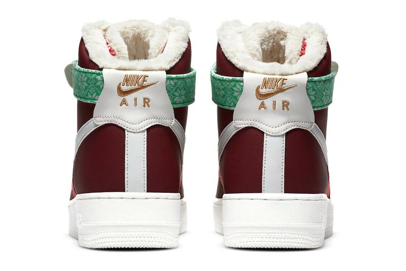 Nike Christmas Pack Air Force 1 Hi Blazer Mid Air Max 90 GS Xmas Seasonal Winter Sweaters Knitted Leather AF1 Saint Nicolas Father Christmas Ho Ho Ho Red White Green Fluff Snow Shoe Sneaker Release Information Closer First Look Swoosh Brand