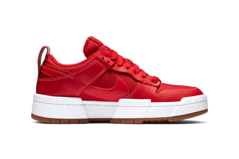 "Nike Dunk Low Disrupt ""University Red"" Women's Exclusive Sneaker Swoosh 1980s Basketball Shoe Trainer Footwear Drop Date Release Information Closer Look"