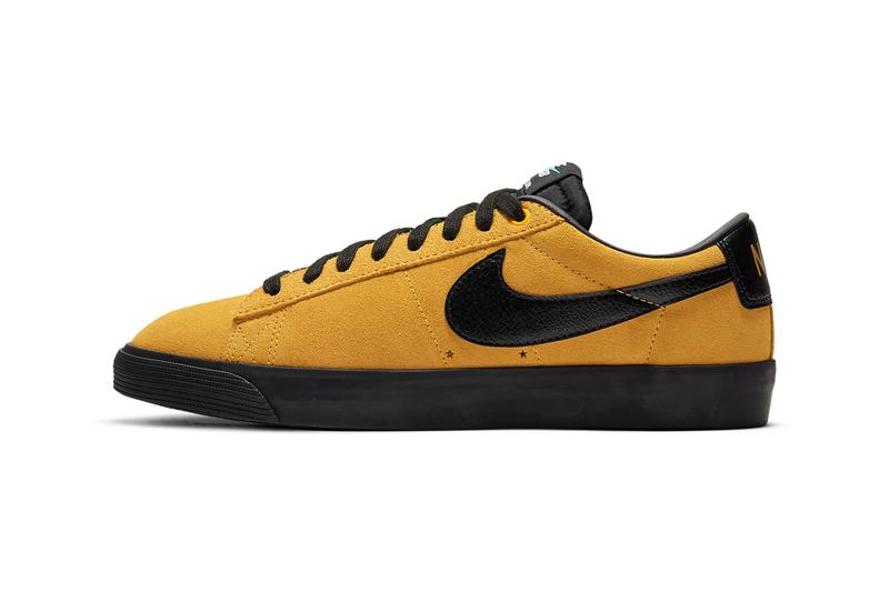 Nike SB Highlighter Pack Blazer Low GT Zoom Blazer Mid Zoom Stefan Janoski RM University Gold / University Gold / Black / Black altic blue / Baltic blue / White / Black ink Rise / Pink Rise / News Print / Black Release Information Swoosh Sneakers Drop Date Closer Look