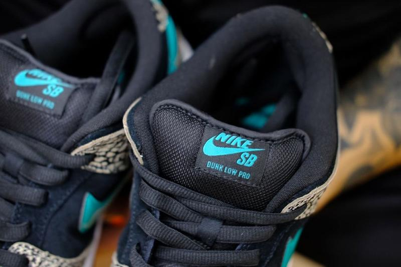 """Nike SB Dunk Low """"atmos Elephant"""" Closer Look Images Sneaker Release Information Drop Date Air Max 1 AM1 Tokyo Turquoise White Print Leather Swoosh"""