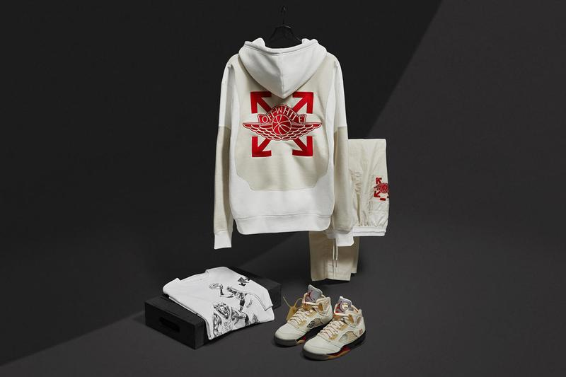 off white air jordan brand 5 sail fire red muslin black dh8565 100 apparel collaboration collection hoodies shirts sweatshirt sweatpants t shirt virgil abloh official release raffle date info photos price store list buying guide