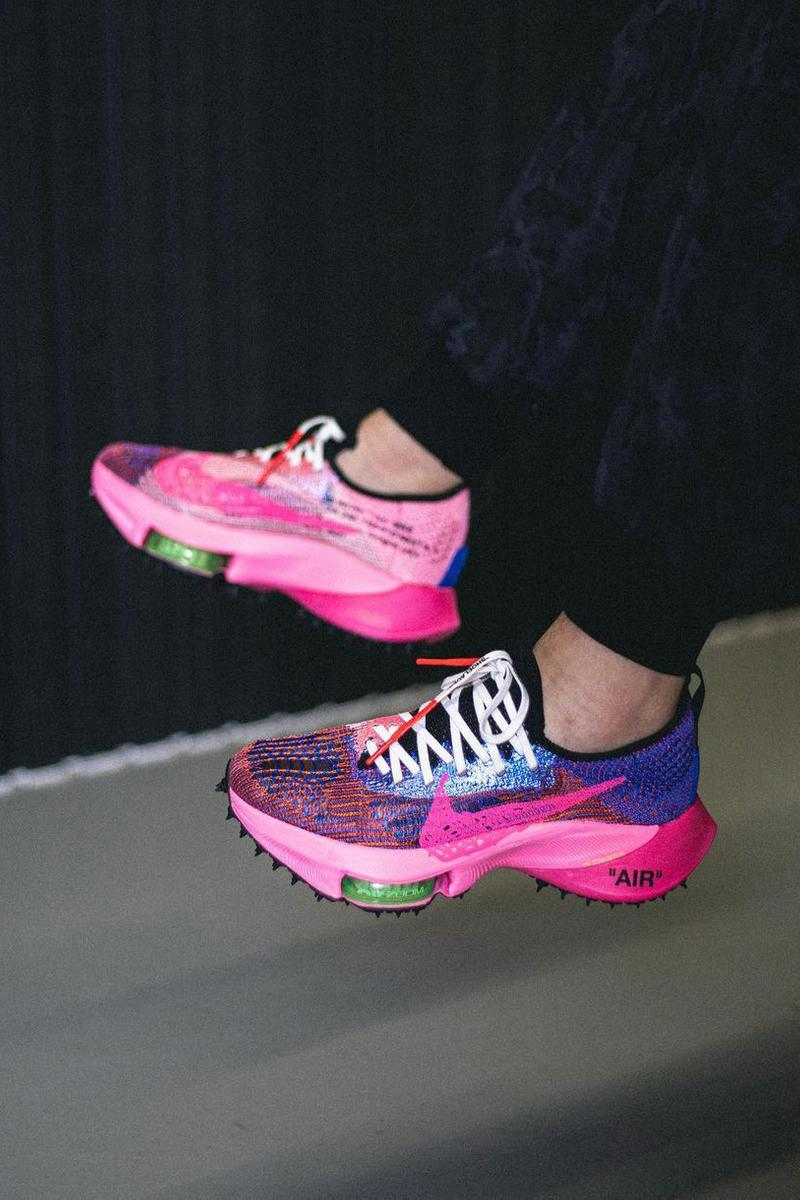 off white virgil abloh nike sportswear air zoom tempo next percent pink blue official release date info photos price store list buying guide