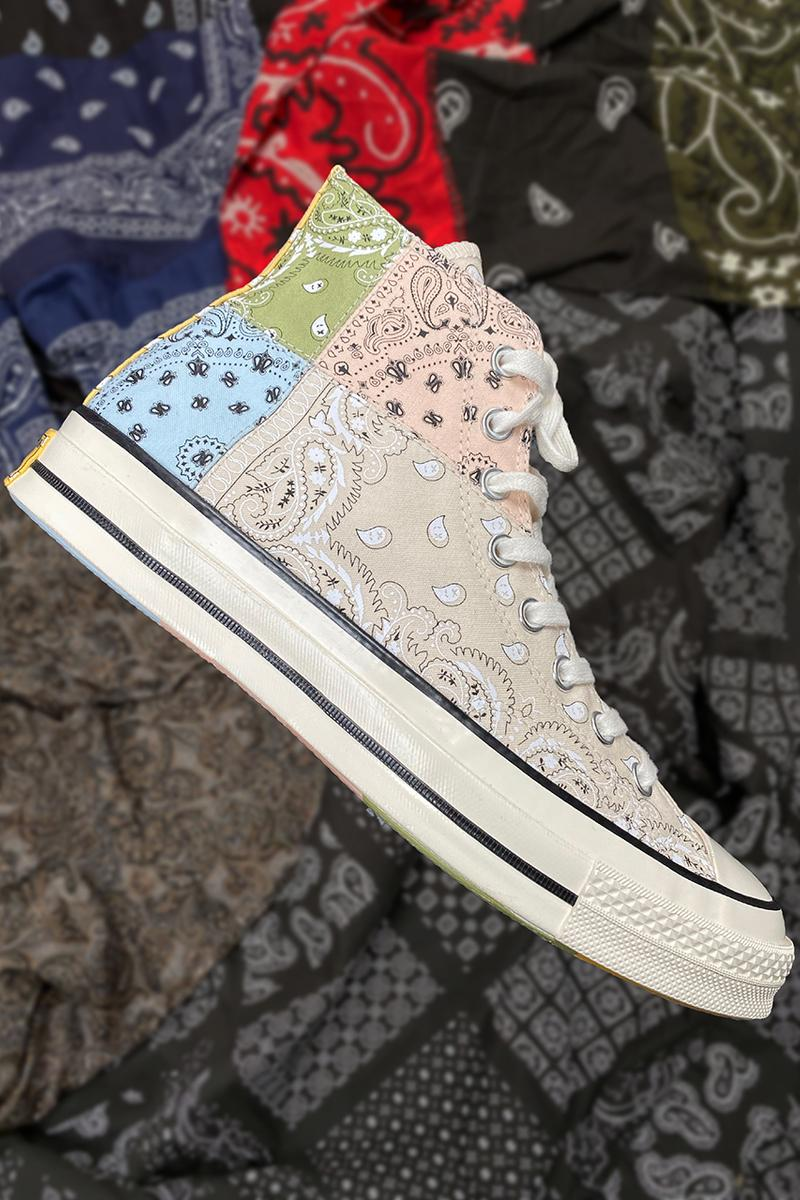 offspring converse patchwork paisley pastel color block red grey beige black blue green pink buy cop purchase release information