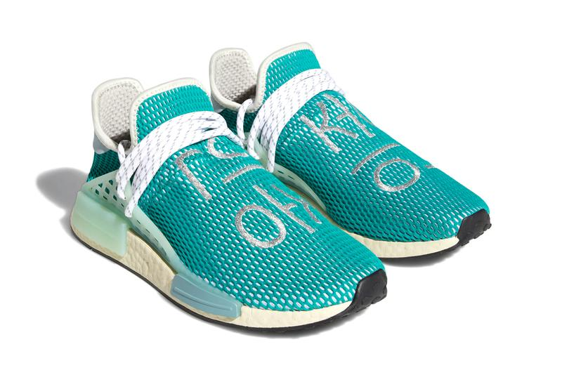 Pharrell Williams x adidas Originals Hu NMD Glory Grey / Dash Green / Sand Q46466 Sneaker Release Information BOOST Sole Unit Three Stripes Limited Edition Collaboration