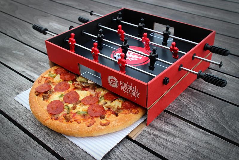 Pizza Hut Ogilvy Hong Kong Foosball Table Pizza Box  Hong Kong Food Snacks football soccer food marketing sports