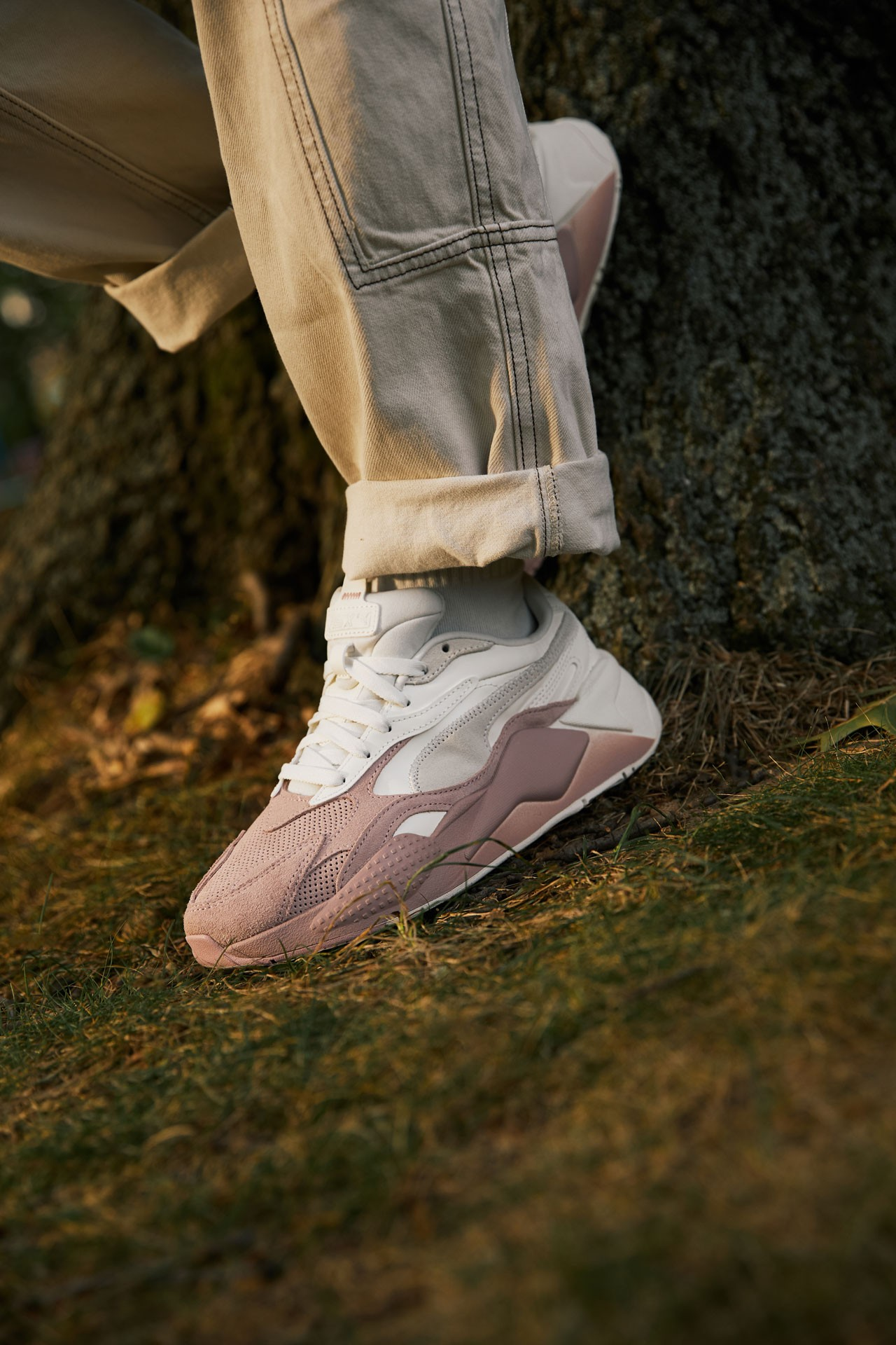 PUMA's classic rubber sole and branding at the tongue and heel RS cushioning formstrike color bold mesh synthetic upper