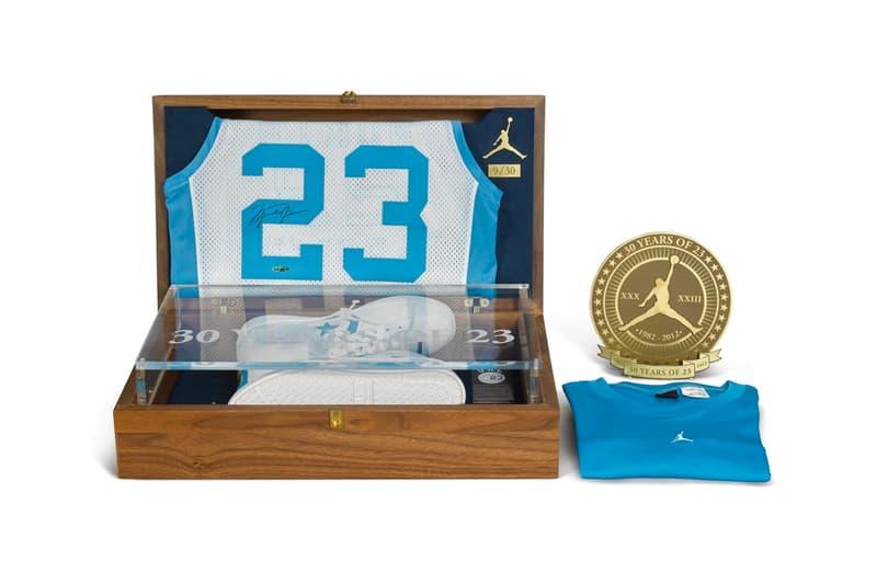 Michael Jordan UNC Pack Sothebys Auction 100000 usd converse leather pro university of north carolina winning shot tar heel jersey signature