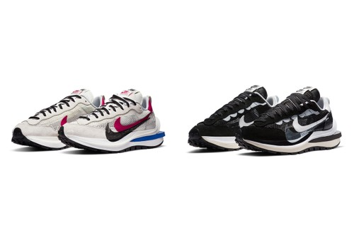 "Official Images of the sacai x Nike Vaporwaffle in ""White/Red/Blue"" and ""Black/White"""