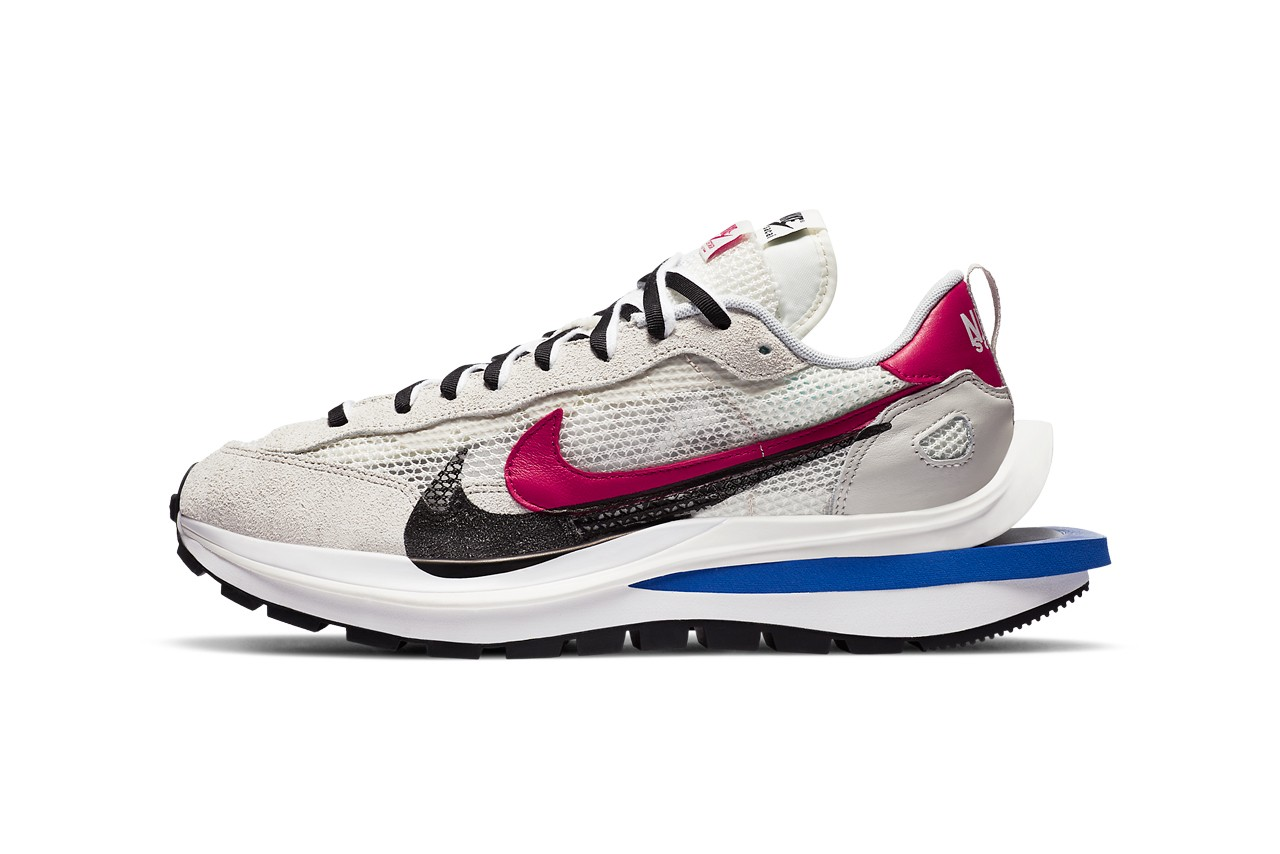 sacai nike sportswear vaporwaffle black white red blue chitose abe cv1363 001 100 pegasus 83 zoomx vaporfly next percent official release date info photos price store list buying guide