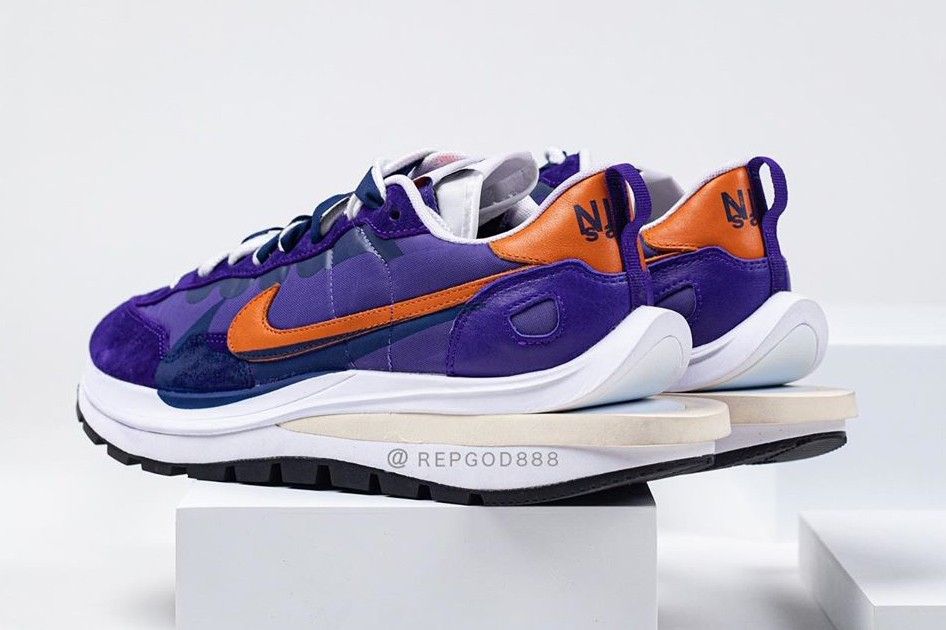 sacai nike sportswear vaporwaffle purple orange nylon upper chitose abe official release date info photos price store list buying guide
