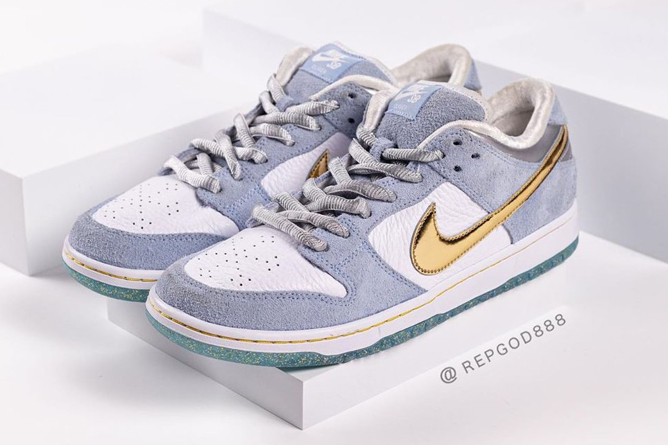 nike sb skateboarding dunk low sean cliver white gray gold blue official release date info photos price store list buying guide