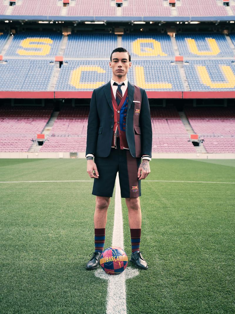 Thom Browne for FC Barcelona Barca Foundation Capsule collaboration collection release date info buy football blazer scarf football charity