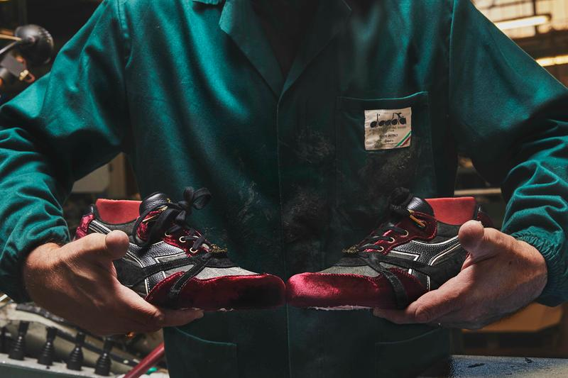 "24 Kilates x Sabotage x Diadora N.9000 ""In Vino Veritas"" 30th Anniversary Special Limited Edition Collaborative Sneaker Drop Pair Release Information 800 Shoes Footwear Trainer Spanish Red Wine Velvet Velour Vineyard Camouflage Mark Ong"