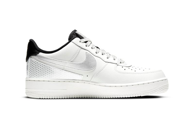 """3M x Nike Air Force 1 '07 LV8 """"Summit White/Black/Summit White"""" CT2299-100 """"Black/Metallic Silver"""" CT2299-001 AF1 Swoosh Light Up Shiny Reflective Limited Edition Collaboration Drop Date Release Information Closer First Look Sportswear B-Ball"""