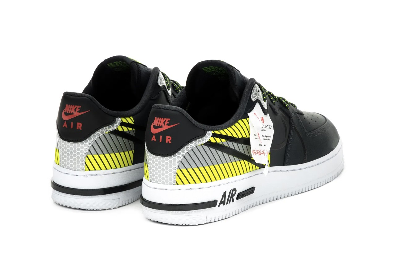 3M x Nike Air Force 1 React LX Sneaker Release Information Collaboration Swoosh Light Up Anthracite/Black/Volt/Habanero Red CT3316 003 Scotchlite