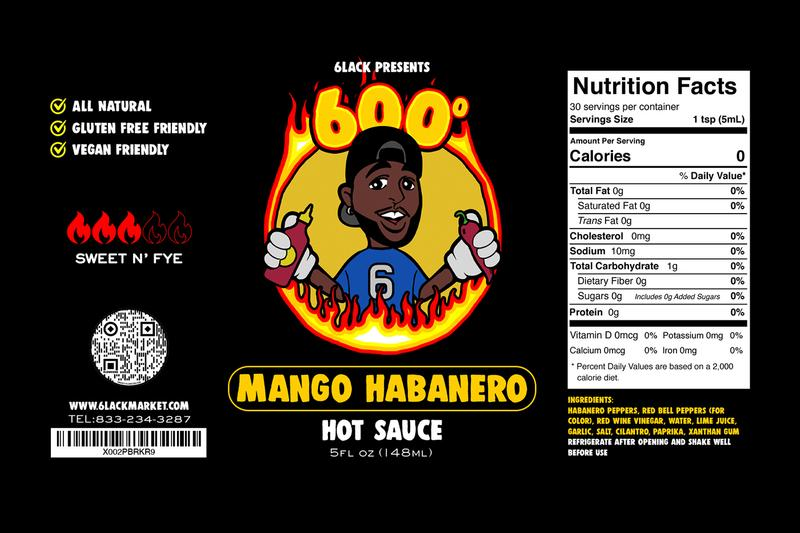 6LACK Fiery 600 Degrees Hot Sauce original habanero mango Habanero peppers red bell peppers red wine vinegar water lime juice garlic salt cilantro paprika xanthan gum
