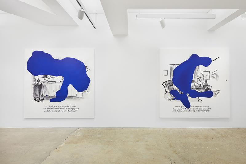 """""""Richard Prince: Cartoon Jokes"""" at Nahmad Contemporary exhibition blue ripples history early painting appropriation"""