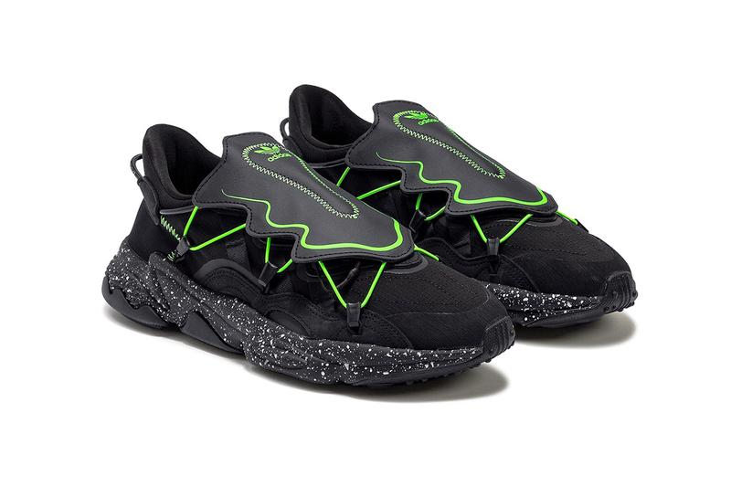 "adidas Originals Ozweego ""Core Black/Grey Six"" fz1955 Sneaker Release Information Green Neon Shoe Lace Covering Shroud Futuristic Zig Zag Three Stripes"