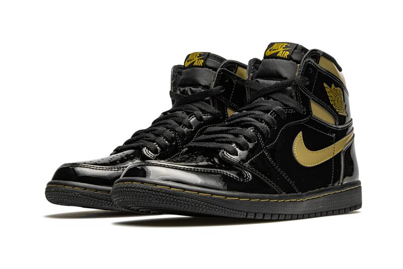 air jordan brand 1 black metallic gold patent leather 555088 032 official release date info photos price store list buying guide