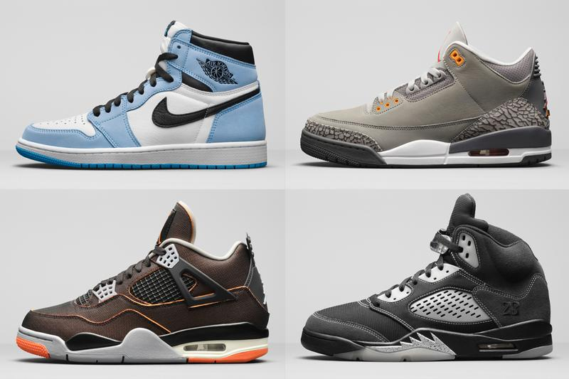 air jordan brand spring 2021 retro collection 1 3 5 9 13 university blue metallic silver cool grey starfish orange stealth university gold official release dates info photos price store list buying guide