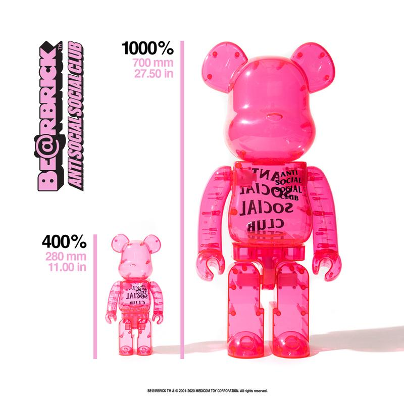 Anti Social Social Club x Medicom Toy BE@RBRICKs collaboration collection hoodies tee shirts release date info buy fall winter 2020 fw20 1000 400 size