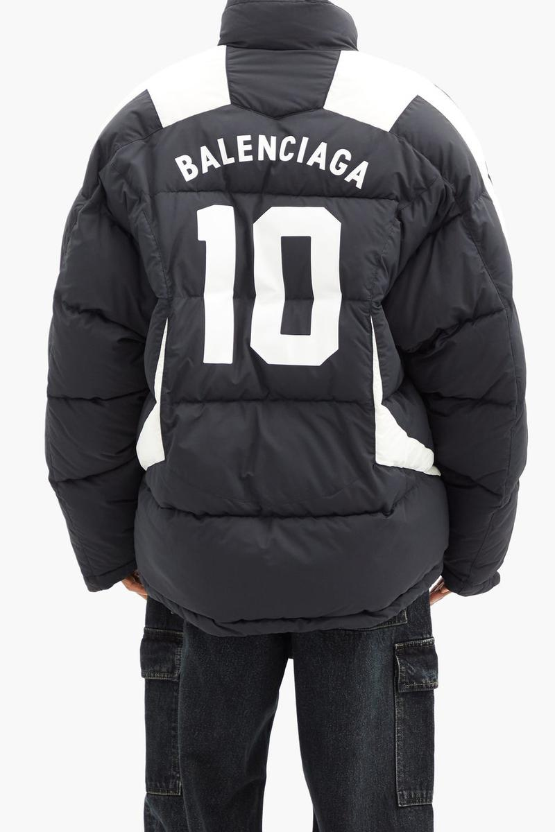 Balenciaga Logo-Printed Quilted Football Soccer Training Puffer Coat Fall Winter 2020 Outerwear Season Jacket Sports Navy White Teams Crest Funnel Neck $2868 USD