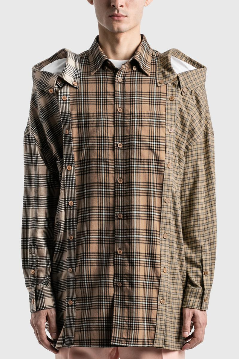 Burberry Contrast Nova Check Cotton Flannel Reconstructed Shirt Riccardo Tisci HBX Shirts FW20 Fall Winter 2020 Three Heads Collars Relaxed Fit Button Down Camel