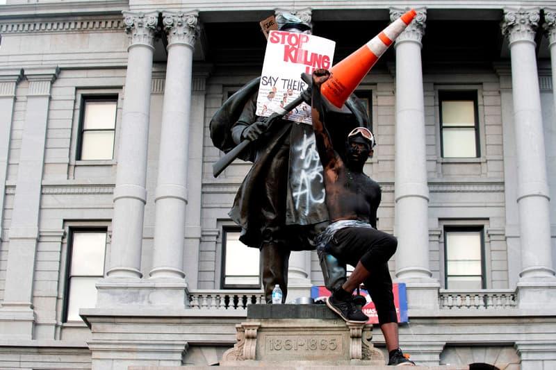 native american woman statue replaces civil war colorado denver black lives matter protests
