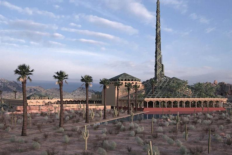 frank lloyd wright unbuilt oasis arizona capitol architecture design renderings visualizations