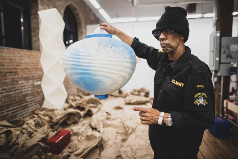 futura exhibition the noguchi museum hand painted light sculptures