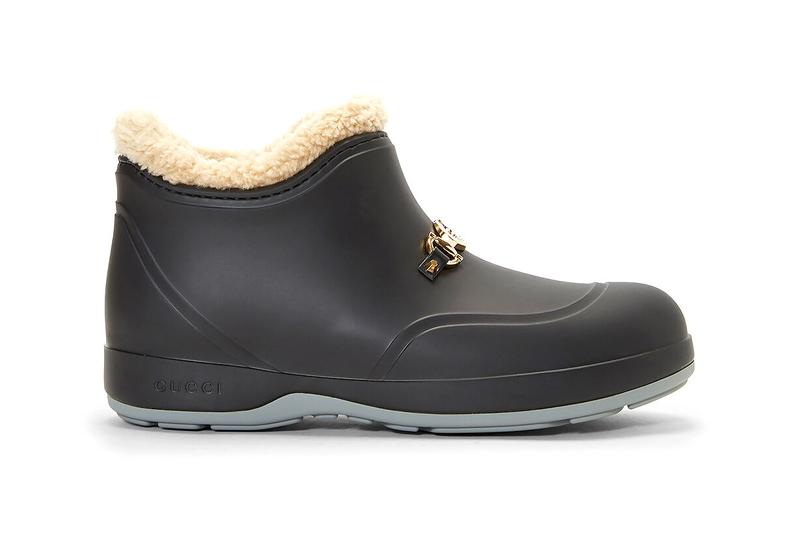 Gucci Horsebit Ankle Boots Black Rubber Wellington Boot Wellies Alessandro Michele FW20 Fall Winter 2020 Shearling Interior Lining Cozy Footwear Shoe Indoors