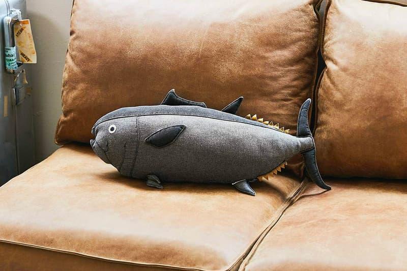 USEDo Kindai University 5-Foot Tuna Cushion is for the Toro Lover Sushi Pillows Fish Vintage Denim Japan Osaka Wakayama