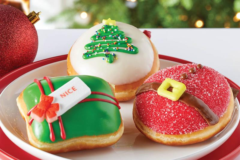Krispy Kreme Readies for X-Mas With a Trio of Holiday Donuts Festive Tree Donut doughnut Present Donut Santa Belly Donut holidays delivery driver Christmas snacks