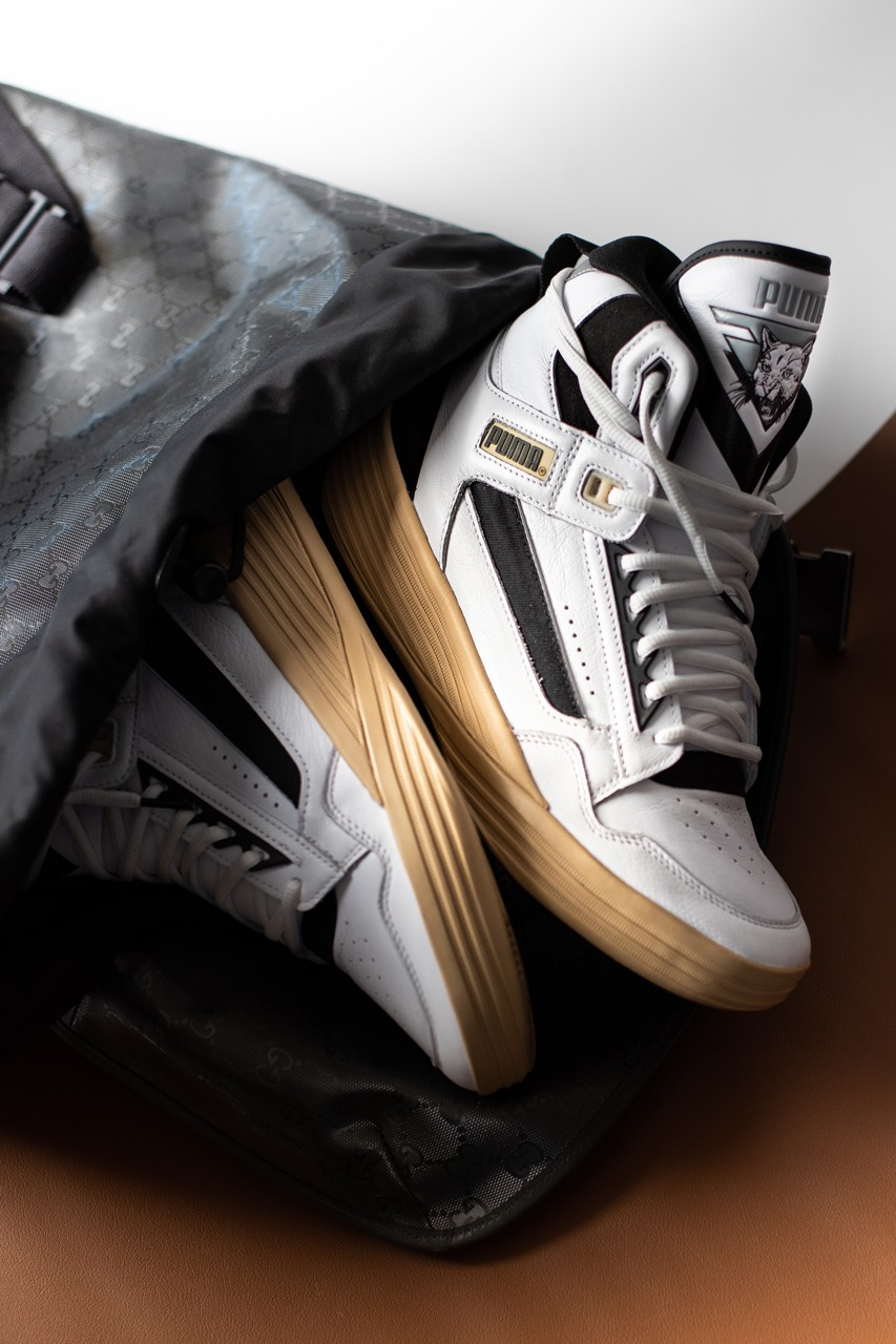 rhuigi villasenor kyle kuzma puma hoops basketball clyde all pro mid rhude 194836 01 puma white pebble tan black gray interview exclusive official release date info photos price store list buying guide