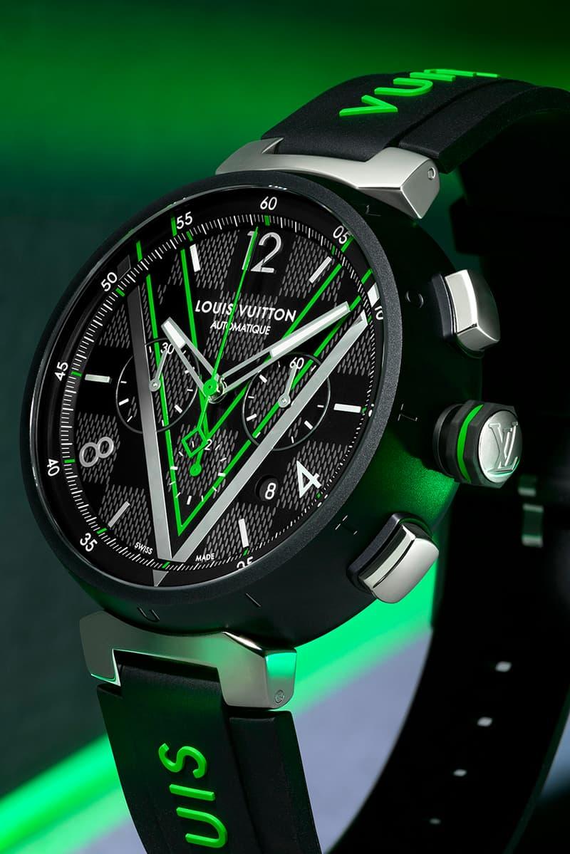 Louis Vuitton Tambour Graphite Damier Chronograph watch timepiece collection color virgil abloh menswear