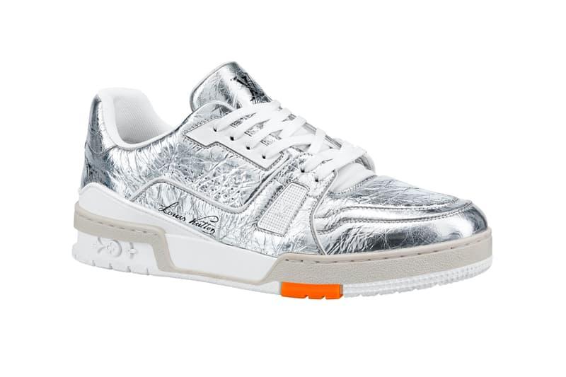 Louis Vuitton LV Trainer Metallic Silver menswear streetwear kicks runners footwear shoes sneakers fall winter 2020 collection virgil abloh
