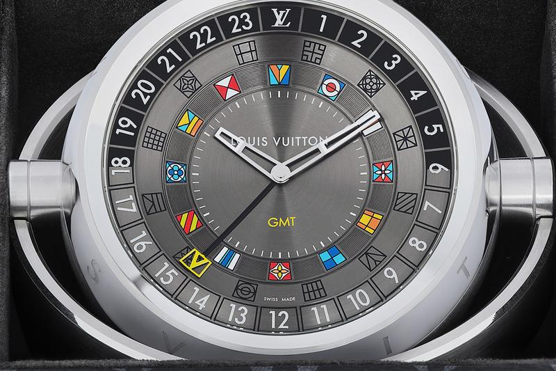 Louis Vuitton Trunk Table Clock Release watchmaking Tambour Moon Dual Time trunk monogram Eclipse