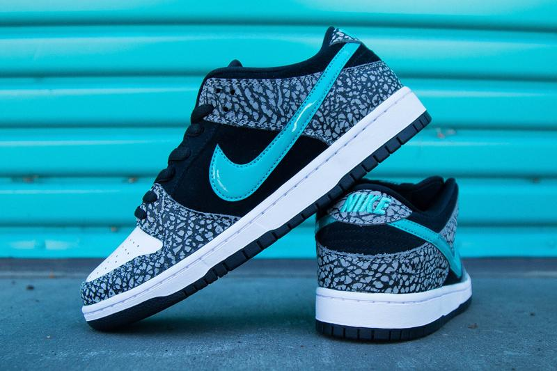 nike sb skateboarding dunk low elephant atmos air max 1 the berrics canteen black elephant print teal bq6817 009 official release date info photos price store list buying guide