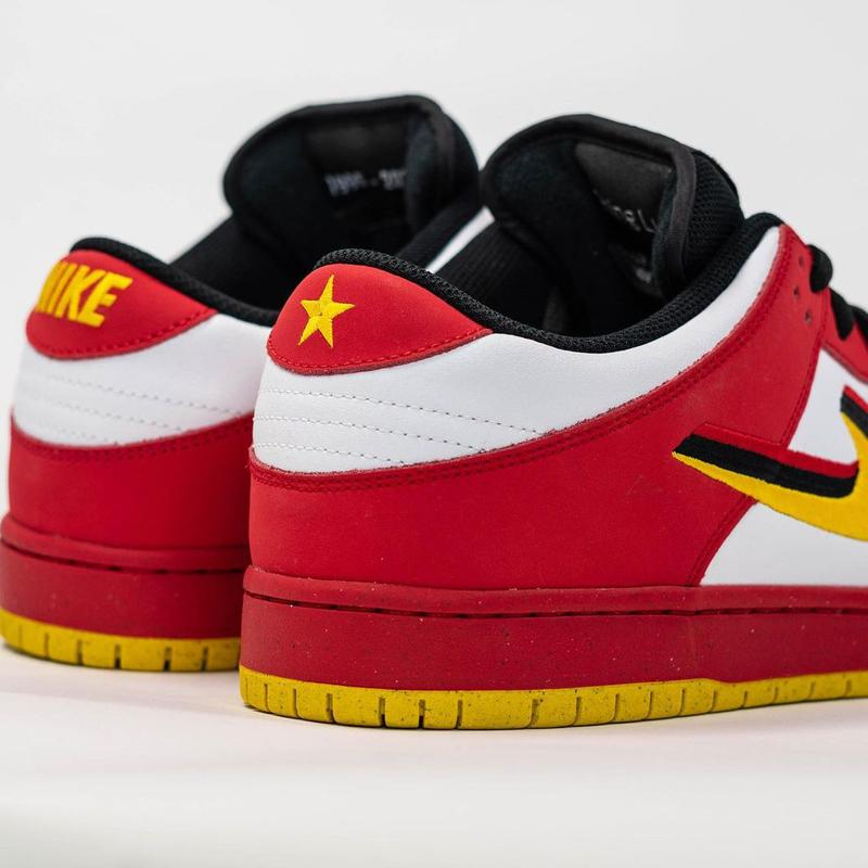 nike sb skateboarding dunk low vietnam white red yellow black 25th anniversary official release date info photos price store list buying guide